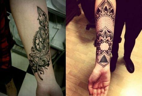 Tattoo auf Unterarm kreative Ideen Frauen geometrische und florale Motive