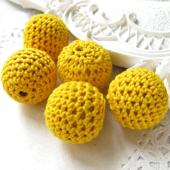 Wholesale Crochet Beads 30pc/lot 20mm Round Yellow Color Ball Knitting