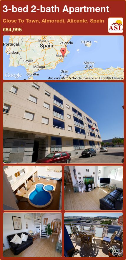 3-bed 2-bath Apartment in Close To Town, Almoradi, Alicante, Spain ►€64,995 #PropertyForSaleInSpain