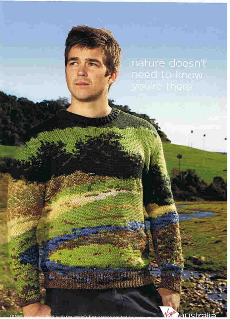 """Landscape sweater as camouflage! The """"virgin landscape sweater"""" by Purl Harbour."""