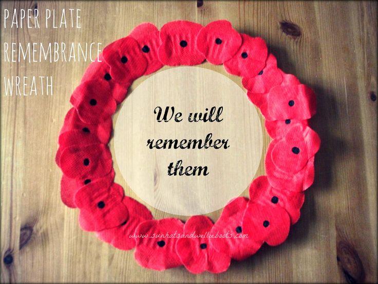 Sun Hats & Wellie Boots: Paper Plate Poppy Wreath