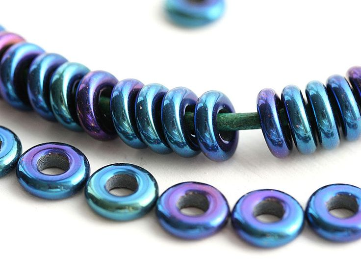 8mm Iris Blue rings, Metallic Blue Purple Czech glass beads, hole size 3mm, for leather cord - 30Pc - 2971 by MayaHoney on Etsy