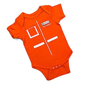 Testing has to start young! Really, really young. Dress your favorite test subject up in vibrant orange and prepare them for an exciting career in SCIENCE! Short sleeves, lap shoulders, and 3-snap closure for, uh, accessing sample data.
