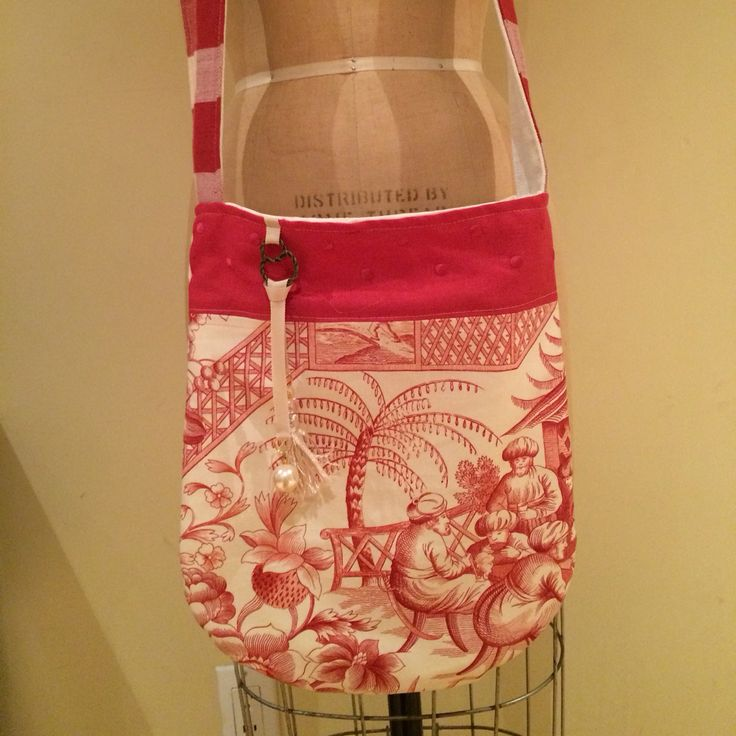 Summer crossbody,toile chinoiserie,pearl&tassel charms,buffalo checks strap from Delightful Creation