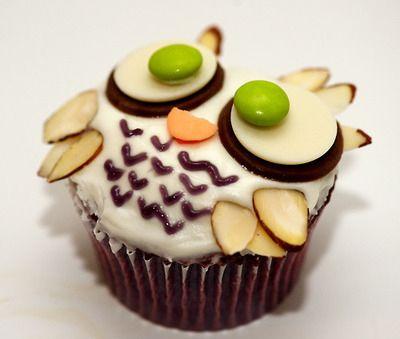 Cute owl cupcake.