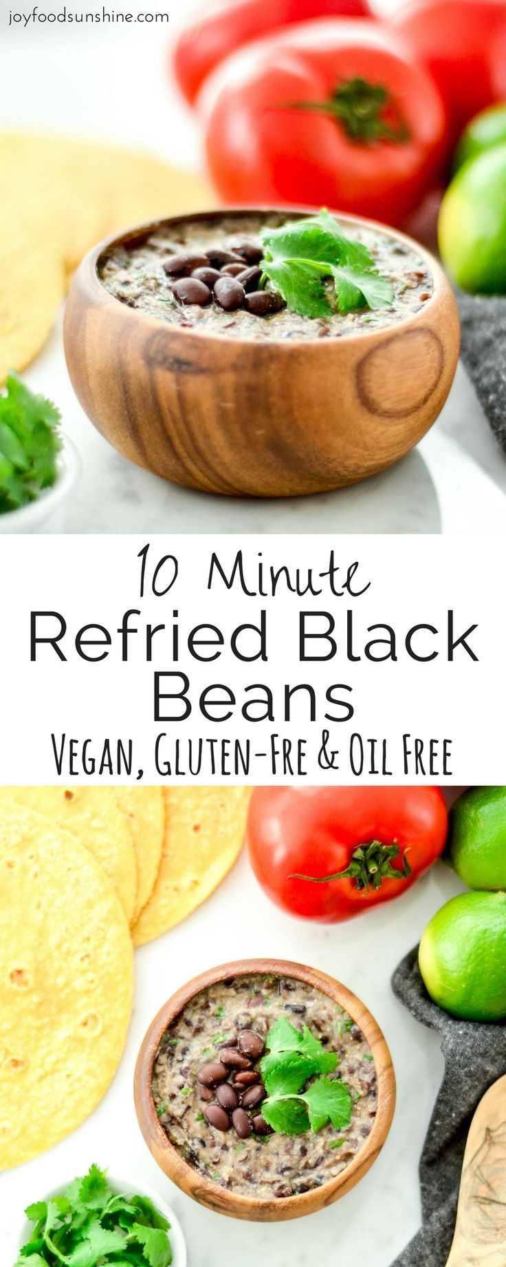 Homemade Refried Black Beans ready in 10 minutes! The perfect addition to your family taco nights! Vegan, gluten-free