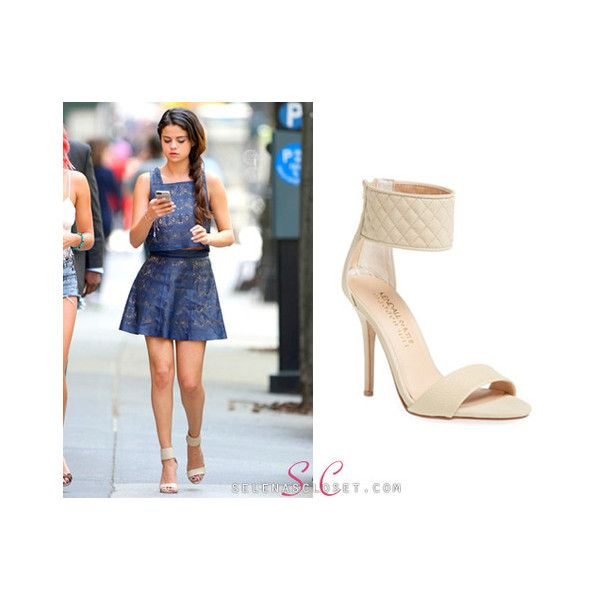 Whenever Selena Gomez steps foot in New York she... - Selena Gomez's... ❤ liked on Polyvore featuring shoes, dot shoes, nude shoes and polka dot shoes