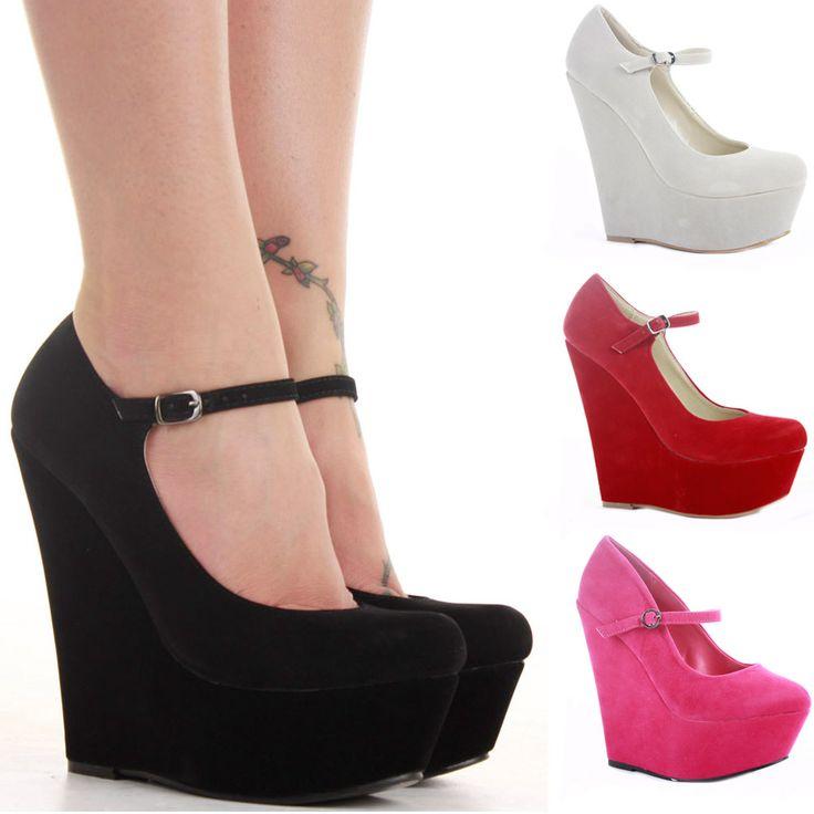Ladies Wedge Shoes Smart Pumps Wedges High Heel Ankle Strap Platform  Size