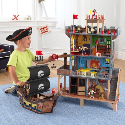This amazing Pirates Cove Wooden Play Set by KidKraft is sure to delight any budding little Pirates with its three storey stronghold and pirate ship.  The Pirates Cove is bursting with features including a working winch, a jail for locking away prisoners, canon that light up and make a bang at the press of a button, a rope ladder and watch tower.  It comes with 5 pieces of furniture, 4 pirates and a chest of treasure that lights up at the push of a button.   £149.99