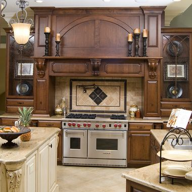 Kitchen Stove Surrounds With A Slanted Cabinet Hood 328 Range Hoods Traditional Raleigh