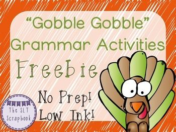"This Thanksgiving Grammar Pack Freebie contains 8 pages of No Prep, Low Ink activities! 3 x poster pages (blank)- for students to use as ""anchor charts"" and write examples of each term.  1 x Sort it Out page (blank) 2 x word cards- to be cut up and glued into the right spaces on the 'Sort it Out' worksheet. 1 x plurals  regular nouns fill in the gaps activity 1 x plurals  irregular nouns fill in the gaps activity 4 x Answer pagesAll the worksheets are ready to just print and go!"