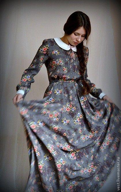 """Платье в пол """"Гимназистка"""" - серый,цветочный,платье,платье в пол,Платье в цветочек"""