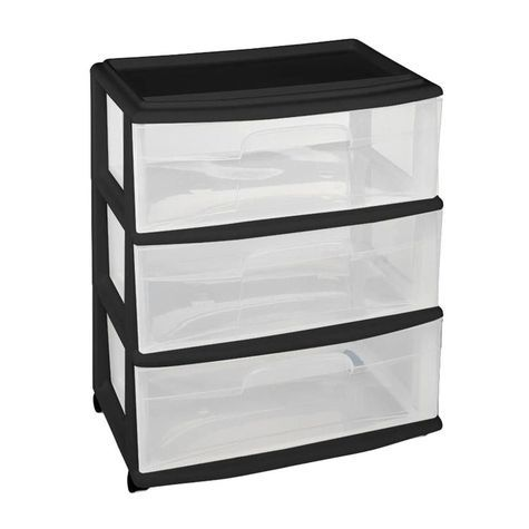 Plastic 3 Drawer Medium Cart With Clear Drawers Casters Made In