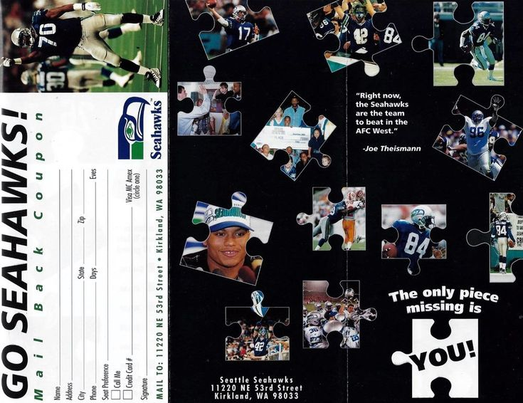 SEATTLE SEAHAWKS 1997 SEASON TICKET ORDER FORM + NEW STADIUM VOTE FLYER-RARE!