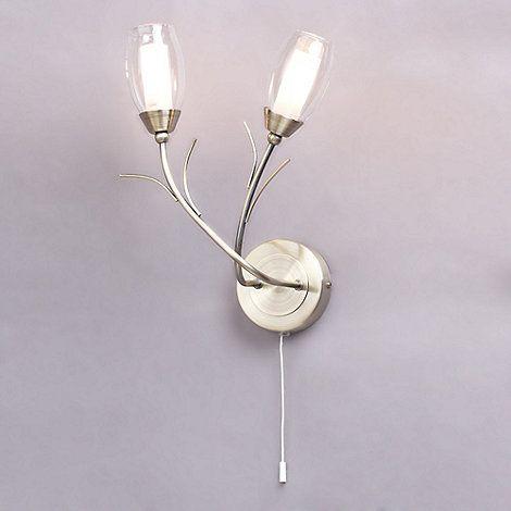 Litecraft Alex 2 Light Wall Light - Antique Brass- at Debenhams Mobile