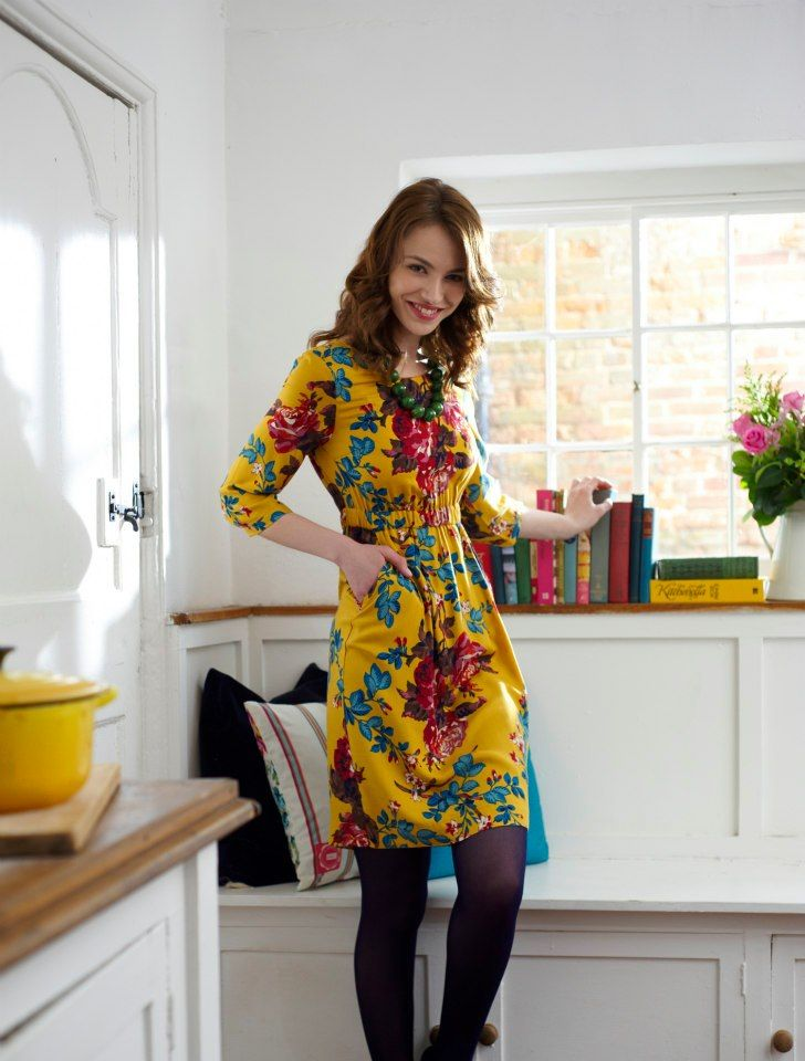 Yellow dress - Joules printed floral dress #joules #christmas #wishlist