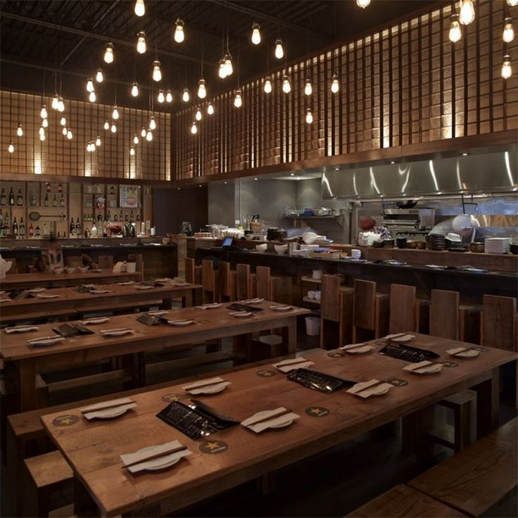 Simple Minimalist Restaurant Design with Less Room Decoration: Stunning Minimalist Restaurant Design Interior Decorated With Wooden Furniture And Traditional Chandelier Lighting Ideas ~ ITSOURNET Uncategorized Inspiration