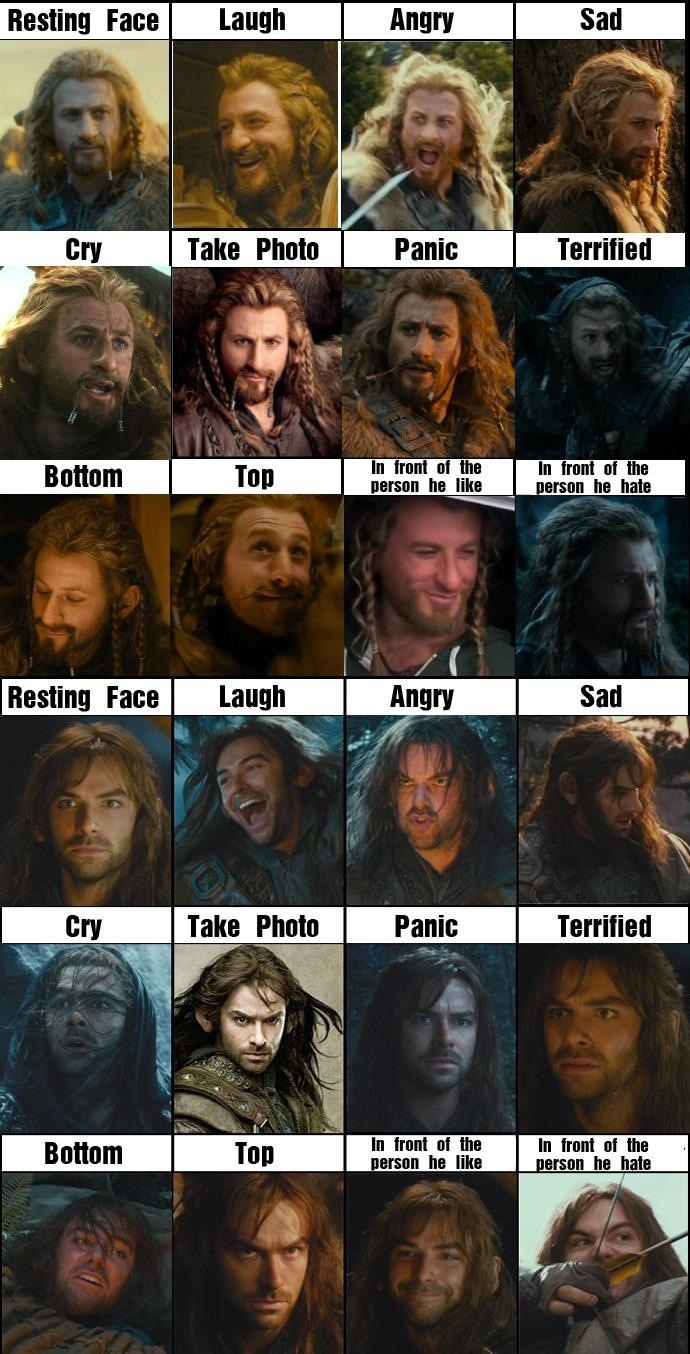 A nice conglomeration of Fili's and Kili's faces. KILI'S ANGRY FACE IS THE BEST