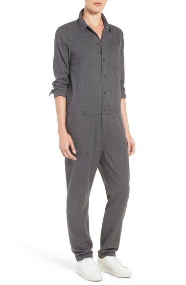 Does this not remind you of a prison outfit or a mechanics jumpsuit? Treasure&Bond Heathered Cotton Boiler Jumpsuit available at #Nordstrom