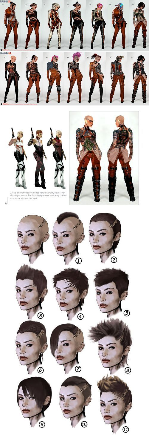 Jack concept art for Mass Effect 2