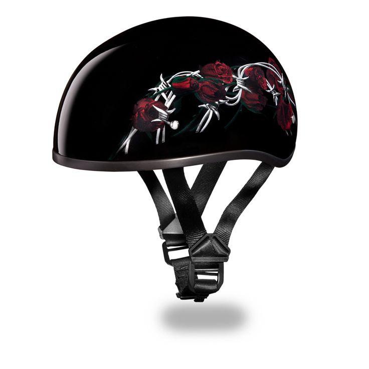 International Biker Mall  - Barbed Rose D.O.T. Daytona Skull Cap Helmet,  (http://www.internationalbikermall.com/barbed-rose-d-o-t-daytona-skull-cap-helmet/)