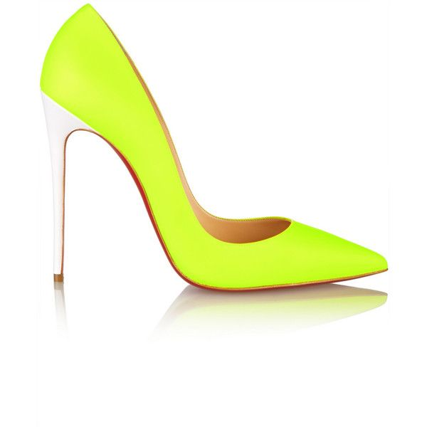 Christian Louboutin So Kate 120 neon leather pumps featuring polyvore, fashion, shoes, pumps, heels, pointy toe high heel pumps, leather slip on shoes, neon pumps, pointed toe pumps and neon heels pumps