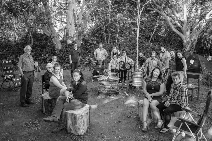 A relaxed group portrait at a family bush camp in South Eastern Australia.
