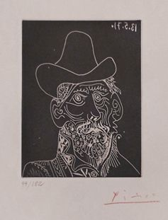 "Pablo Picasso Grabado al Aguafuerte ""Buste d'homme barbu au chapeau""  1971  30 x 23 cm  Tirada de 182 ejemplares  Numerado a lapiz  Firmado a mano por Picasso  Bloch 2014, Baer 1989B  Precio: 5.000 €"