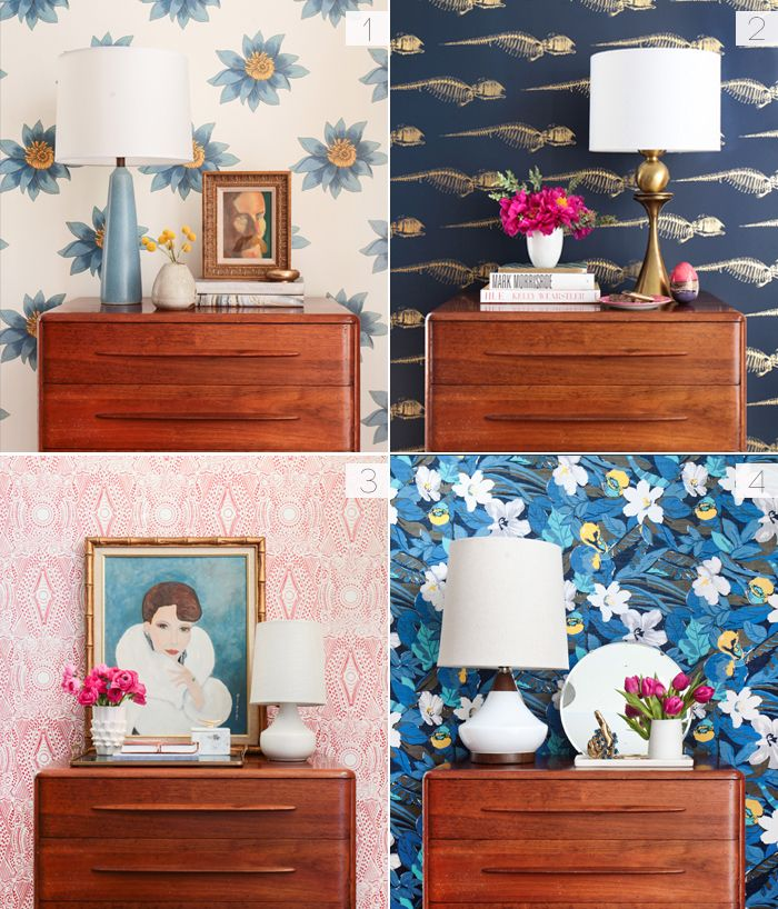 One dresser - styled four ways and with four beautiful wall paper styles, by Emily Henderson
