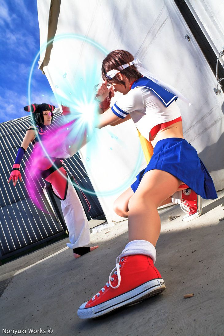Characters: Juri HanSakura Kasugano / From: Capcom's 'Street Fighter' Video Game Series / Cosplayers: DiroPetra as Juri & Cristina Riccardi (aka Bellcrius) as Sakura