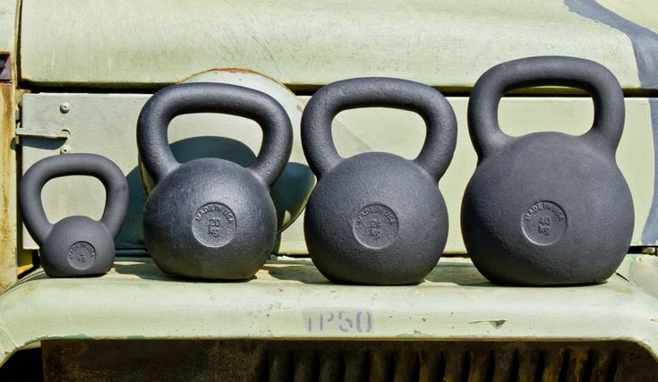 Kettlebells - Standard weight is 24 kg for men and 16 kg for women. $95 - $118    Note: You can buy kettlebells in either pounds or kilograms, but be sure to do the conversions to buy the correct weight.    Tip: Look for free shipping or buy local to reduce cost significantly.
