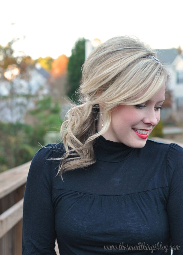 The Small Things Blog: Holiday Hair Tutorial : Swept to the Side