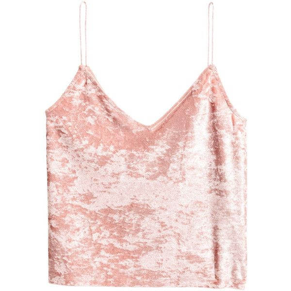Crushed-velvet Camisole Top $14.99 ($15) ❤ liked on Polyvore featuring tops, crushed velvet top, pink cami top, v-neck camisoles, pink camisole top and camisole tops