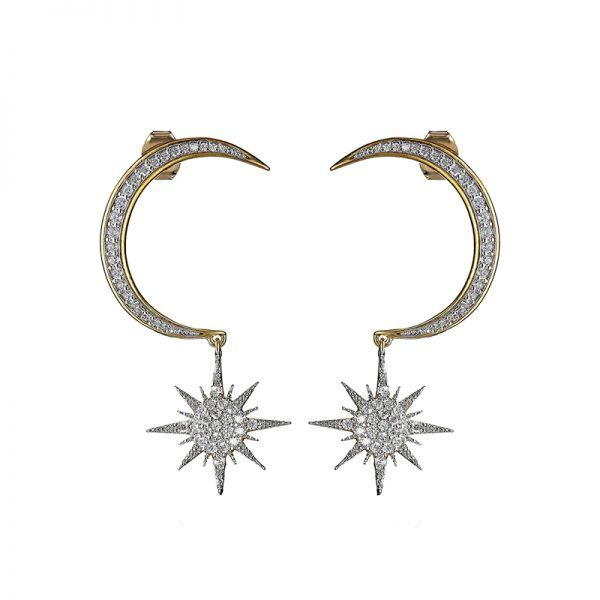 Statement earrings can make an outfit, and these stunners are only $50 on Amazon!  Crescent Moon and Starburst Earrings, Noir Jewelry $50