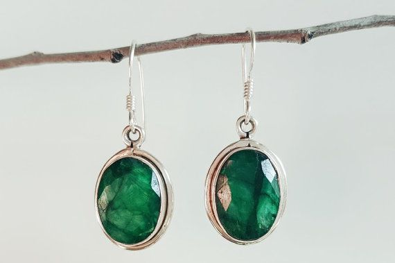 Smaragd-Ohrringe - grüne Smaragd Schmuck - möglicherweise Birthstone Ohrringe - sterlingsilber Smaragd Ohrringe - Ohrringe Smaragd