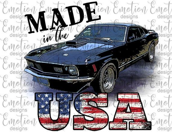 Made In The Usa Classic Car Clipart Instant Download Png Etsy In 2021 Classic Cars Best Car Insurance Classic Mustang