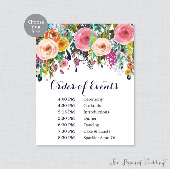 Printable Order Of Events Sign