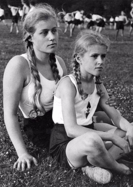 Two German girls of the BDM (League of German Girls), circa 1934-1935.