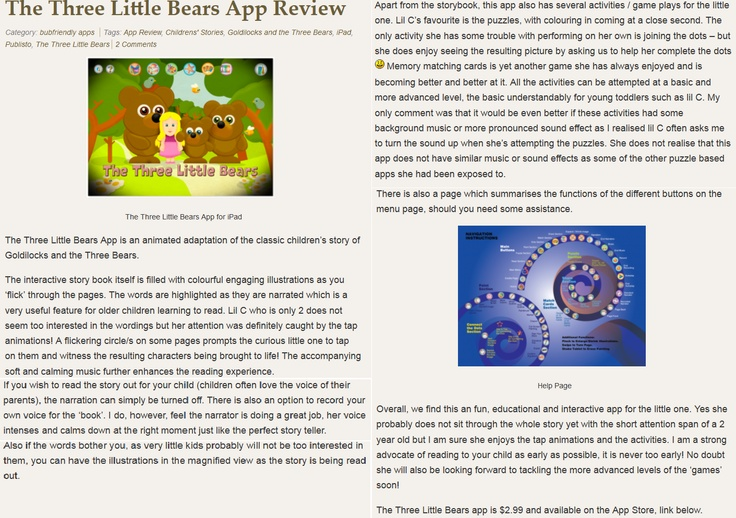 """The accompanying soft and calming music further enhances the reading experience.""  Thank you Bubfriendly for your review for our THREE LITTLE BEARS!  http://bubfriendly.com/2013/03/the-three-little-bears-app-review/"