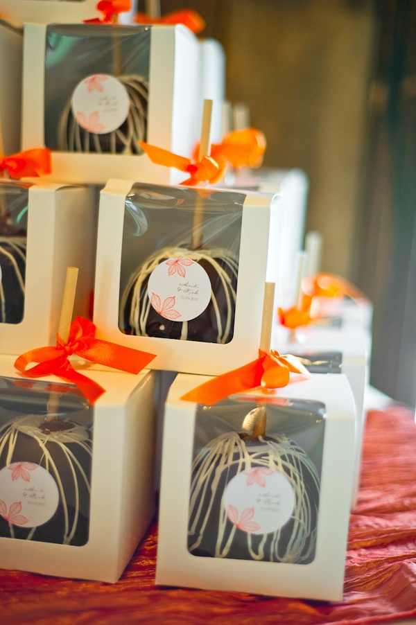 "Candy Apple Favors - great idea so people will actually take the favors so they don't worry about having ""clutter"" around the house!"
