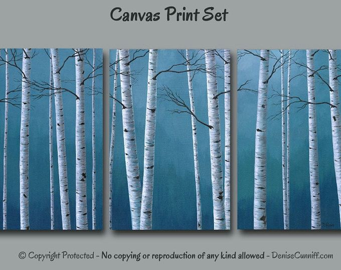 Aspen Trees Or Birch Trees 2 Piece Wall Art Canvas Diptych Etsy Tree Painting Canvas Birch Tree Art Metal Tree Wall Art