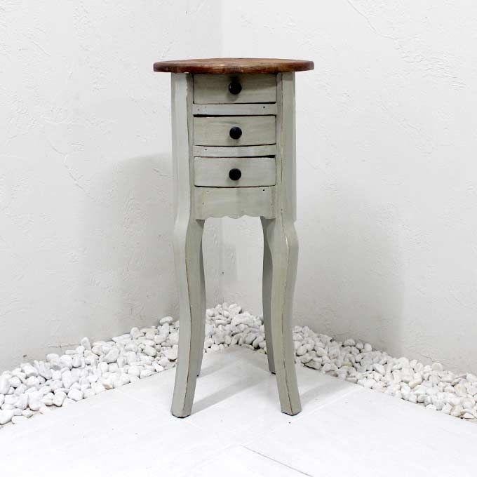 サイドチェスト ホワイト 天然木 無垢 バリ家具 アジアン家具