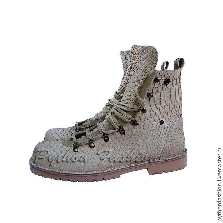 Купить Дизайнерские ботинки из кожи питона TIMBERLAND - кожа питона, из питона, из кожи питона, питон