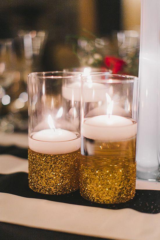 Floating candles in DIY glitter gold vases #goldglitter ...