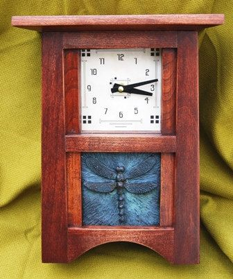 "Craftsman Mission Style Clock with 4"" x 4"" art tile. $237.00, via Etsy."