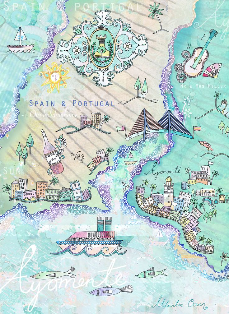 Map of Spain and Portugal by Hannah Davies