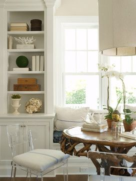 flank the window seat with two of these built in cupboards and bookcases.