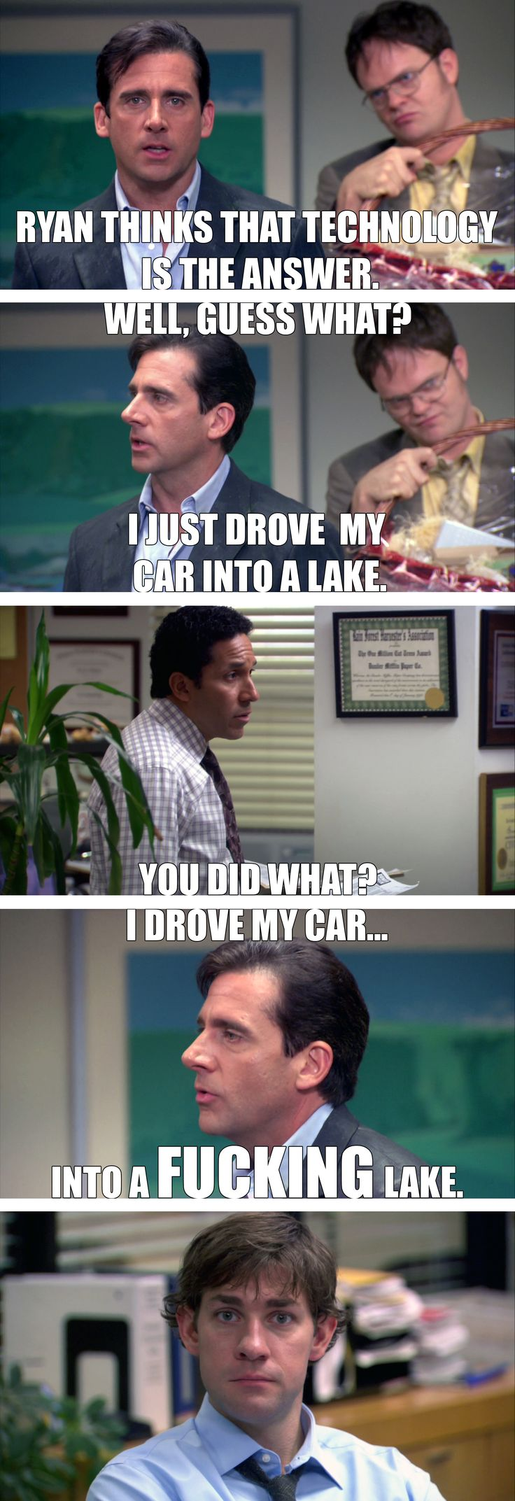 Michael Scott (Steve Carell) drives his car into a lake on The Office. Dwight Schrute (Rainn Wilson), Oscar Martinez (Oscar Nunez), and Jim Halpert (John Krasinski) look on incredulously.