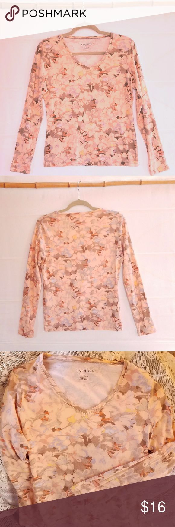 """Talbots Peach Floral Long-Sleeve Top V-neck, long-sleeve top by Talbots in pale peach watercolor floral print. Very soft cotton/rayon blend knit. Machine wash, cold. Very good condition, no flaws noted. Measurements (flat): chest/armpits 18"""", length 22 1/2"""", sleeve (under) 18"""". Talbots Tops"""