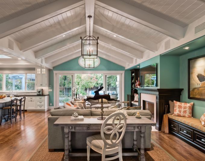 turquoise walls, white panel ceiling, white kitchen, dark floors = absolutely PERFECT
